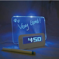 Wholesale Desk Writing Board - Wholesale-LCD desk table alarm clock with writing memo notice interactive message board Date Time Temperture
