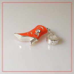 Wholesale Enamel Boot Charm - 15pcs Red Boots Enamel Alloy Metal Beads With Silver Plated Fit Charm Bracelet Necklace