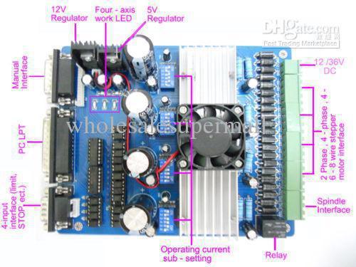 4 axis tb6560 cnc stepper motor driver board controller reprap.