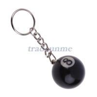 Wholesale Resin Model Ships - Wholesale-Free shipping Popular 1x32mm Billiards Pool Ball Model Keychain Black No. 8 Key Ring Chain Resin