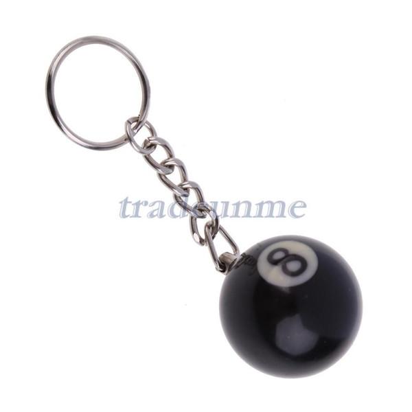 Toptan-Ücretsiz kargo Popüler 1x32mm Bilardo Havuz Topu Modeli Anahtarlık Siyah No. 8 Anahtarlık Zinciri Reçine