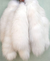 "Wholesale Silver Tassel Charm - Wholesale-15""Genuine Red Fox Silver Fox Tail Keychain Fur Tassel Bag Tag Charm Keyring Free shipping"