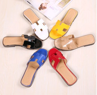 Wholesale Chunky Sandal Flats - Wholesale-Free Shipping 2015 Newest Brand Designer Women's 100% Genuine Leather Oran H Sandals shoes Summer slip-on Flat Slippers