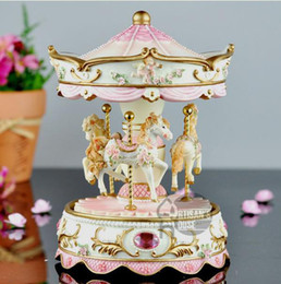 Wholesale Christmas Decoration Music - Novelty Gift ! Carousel Decorated High Quality Resin Music Box