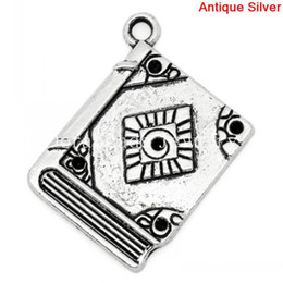 Wholesale Antiques Books - Wholesale-Charm Pendants Book Antique Silver(Can Hold ss6 Rhinestone) Rhombus Pattern Carved 26x21mm,30PCs (B29524)