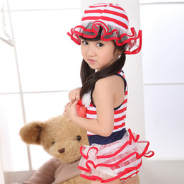 Wholesale Sailor Bikini Bathing Suit - Wholesale-Kid Girls Swimsuit Girls sailor striped swimsuit Bathing Suit 1-7Y