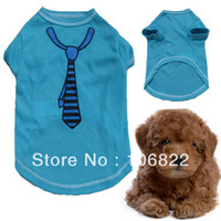 Wholesale Free Patterns Dog Clothes - Wholesale-Summer Cool Pet Dogs Clothes Apparel Cute Tie Pattern T Shirt Costume Clothing LX0097 Free shipping&DropShipping