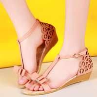 Wholesale Ladies Cute Sandals - Wholesale-New Summer Fashion Ladies shoes Sandals gladiator style Wedges Low heel maternity plus size 34-40 Hot sale Flower Cute Bowtie