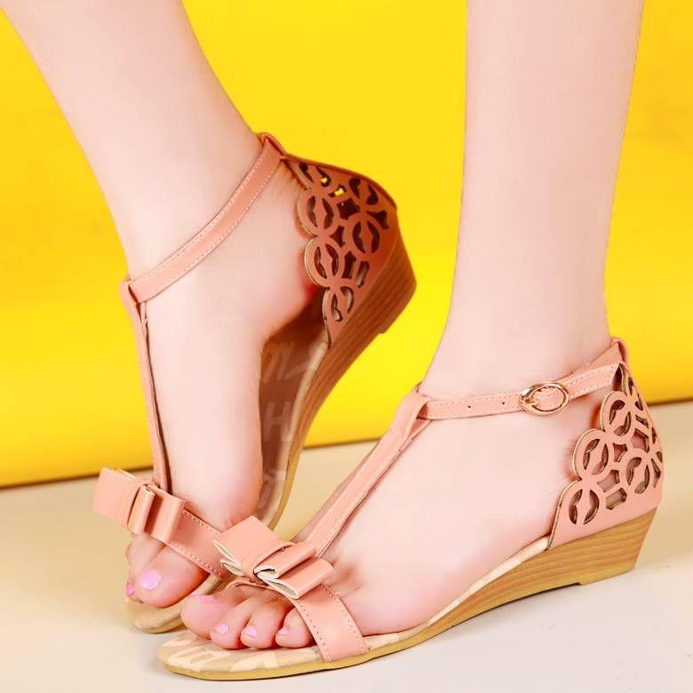 9ce43ba084c2 Wholesale-New Summer Fashion Ladies shoes Sandals gladiator style Wedges  Low heel maternity plus size 34-40 Hot sale Flower Cute Bowtie