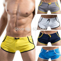 Wholesale Sexy Swim Shorts For Men - Wholesale-HOT Brand Men's Swimming Trunks Swimwear Sexy Boxers Pocket Swimsuits for Men Beach Bathing Pool Wear Shorts Briefs Sungas