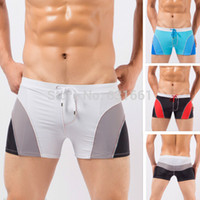 Wholesale Man Bathing Suits Briefs - Wholesale-Swimwear Men 2015 Low Waist Boxer Swimming Trunks Men's Bathing Suit Mens Swim Shorts Plus Size Swimsuit Briefs sunga