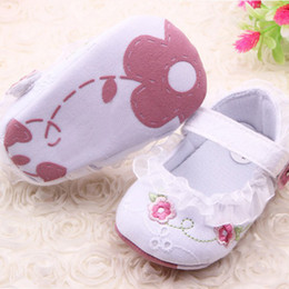 Wholesale Infant Girls Crib Shoes - Wholesale-Infant Toddler Baby Girl First Walkers Floral Lace Prewalker Shoes Soft Sole Crib Shoes For Freeshipping