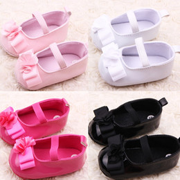 Wholesale-New Infant Girl Ribbon Flower Baby Shoes Toddler Soft Sole PU Leather Crib Shoes Free Shipping