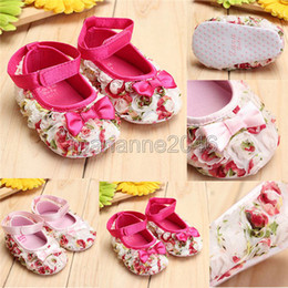 Wholesale Cute Babies Red Roses - Wholesale-2015 Baby Infant Toddler Flower Rose Lace Bow Soft Sole Shoes Prewalker For Little Girl Lovely Cute