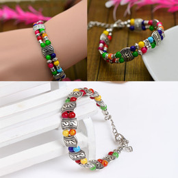 Wholesale Multicolor Turquoise Beads - Wholesale-Hot Sale New Fashion Plated Silver Multicolor Jade Turquoise Bead Bracelet Ladies Jewelry Drop Shipping