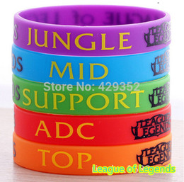 Wholesale Silicon Bracelets Printing - Wholesale-LOL, League of Legend Wristband, Silicon Bracelet with ADC, JUNGLE, MID, SUPPORT, DOTA 2 Printed Band,50pcs Lot, Free Shipping