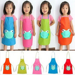 Wholesale Cartoon Color Frogs - Wholesale-New Cute Kids Child Children Waterproof Apron Cartoon Frog Printed Painting Cooking Apron Candy Color PVC Cleaning Aprons