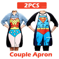 Wholesale Canvas Kitchen Aprons - Wholesale-2PCS lot FREE SHIPPING funny kitchen apron Superman superwoman couple cooking aprons for women   man birthday valentines gift