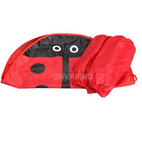 Wholesale Ladybug Aprons - Wholesale-#Cu3 Cute Child Cartoon Ladybug Apron Waterproof Pinafore with Oversleeves Red