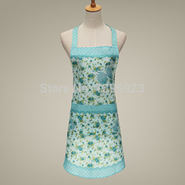Wholesale Cute Cooking Aprons For Women - Wholesale-Cute Floral Cooking Apron Woman Home Practical Kitchen Pocket Aprons For Cleaning