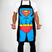 Wholesale Canvas Kitchen Aprons - Wholesale-kitchen apron superman Funny Cooking men women Sexy apron Dinner Party