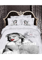 Wholesale Marilyn Monroe Bedding Queen - Wholesale-New 2015 Marilyn Monroe Luxury 3D 4pcs Bedding Set Bed linen Duvet or Quilt Cover Bedclothes Full Queen King Size ,Free Shipping