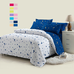 Biancheria bianca in biancheria completa online-Wholesale-Hot sale! 4pcs white moon and star bedding set white bed linen set with blue bedsheets for twin full queen bed