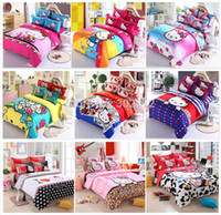 Wholesale Orange King Bedding - Wholesale-Home textiles,New style Hello-kitty child bedding sets, include duvet cover bed sheet pillowcase,King size