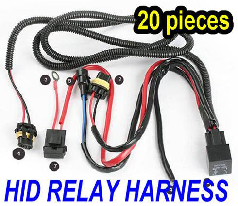 20PCS USA UK!!! HID RELAY WIRE WIRING HARNESS FOR HID XENON KIT H1 H3 H4 H7 9004 9005 9006 9007 40A