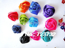 Wholesale Rolled Fabric Rosette Flowers - Wholesale-Free shipping 100pcs lot DIY Baby dia25mm Satin Rolled Ribbon Rose Flowers fabric rosettes flower women's hair accessories