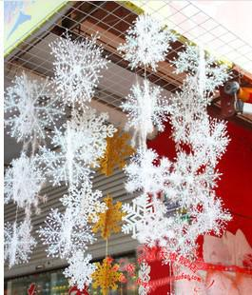Gros-2 ensembles Décorations De Fête De Noël Fournitures Blanche Neige Flocons De Neige Suspendus Ornements Un Ensemble avec 3pcs / 1 ensemble = 18cm / 25cm / 35cm