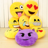 All'ingrosso-32 centimetri 13 stili Emoji Smiley Emoticon rotondo giallo cuscino peluche ripiene Peluche come regalo di Natale Presente Natale