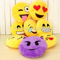 Wholesale Crochet Round Cushion - Wholesale-32cm 13 Styles Emoji Smiley Emoticon Yellow Round Cushion Pillow Stuffed Plush Soft Toy as Gifts Xmas Christmas Present