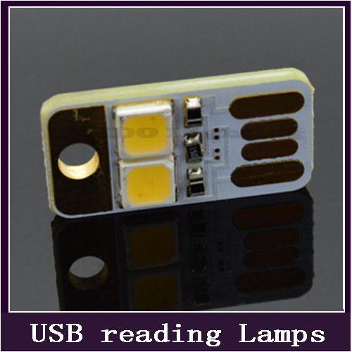 Gros-2pcs / pack! Soshine Portable Mini USB Puissance 2 LED Veilleuse Lampe 1W 5V Touch Variateur Lumière Chaude pour Power Bank Ordinateur Portable