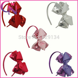 Wholesale Glitter Sequin Hair Bows - Wholesale-Solid Grosgrain Bows with Glitter Sequins Hair Bows Headbands For Girls Babies Toddler kid 10 pieces lot CNHB-1310162