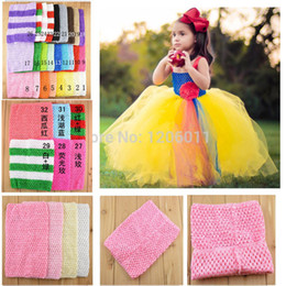 Wholesale Crocheted Tube Tops - Wholesale-Wholesale 9 Inch Tutu Crochet Tube Top Baby Stretch Colored Tutu Headband Free Shipping 45pcs lot