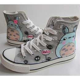 Wholesale Hand Painted High Top Sneakers - Wholesale-Totoro Style Male Female Hand-painted Shoes Canvas Sneaker High Top Lace-up Students Casual Shoes With Flat Sole