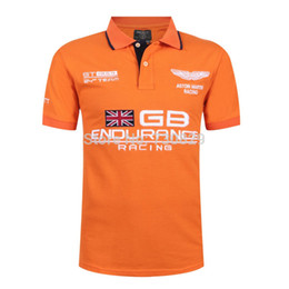 Wholesale Gb Shipping - Wholesale- Hot in Spain Polo Shirt Men Brand Shirt ENDURANCE RACING Aston Martin Short Sleeve Polos GB Flag Free Drop Shipping