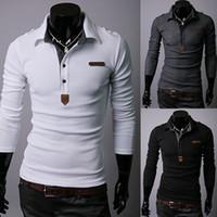 camisa de vestir negro gris al por mayor-Camisa de manga larga para hombre al por mayor-al por mayor de la nueva primavera Color blanco / negro / gris Tamaño M-XXL para la camisa de los hombres Vestido de Fitness ocasional