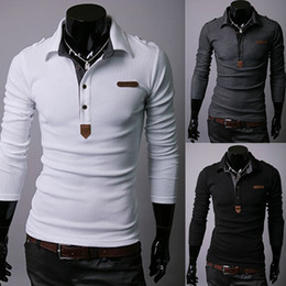 Wholesale Solid Color Dress Shirts Men - Wholesale-Wholesale New Spring Mens Long Sleeve Polo Shirt Color White Black Grey Size M-XXL For Polo Shirt Men Casual Fitness Dress