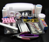 Wholesale Nails Art New Brush - Wholesale-New Kit ! 12 Pure Color Nail Art UV Gel Solid Extension Manicure set + Builder Polish Lamp with brush + base coat + top coat