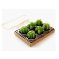Wholesale Art Cactus - Wholesale-Lovely mini Green Cactus Candles Plant Decor Home Table Garden 6pcs lot kawaii home Decoration free shipping