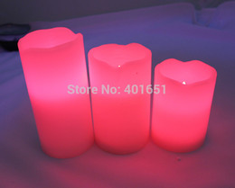 Wholesale Colour Change Candles - Wholesale-3x Romantic Colour Changing LED Vanilla Scented Flameless Wax Candles As gifts with Remote Control