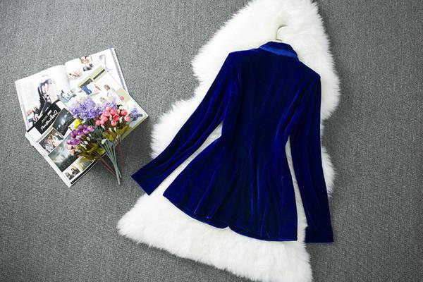 Al por mayor-terciopelo de invierno de calidad superior de moda mujeres con muescas bolsillos del botón de un solo pecho largo frío púrpura Blazer de terciopelo para el trabajo