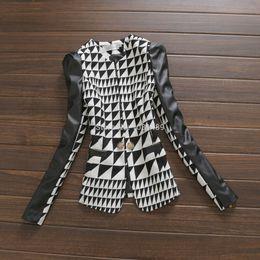 Wholesale Women Herringbone Blazer - Wholesale-New European Fashion Women Tops Vintage Black and White Plaid PU Leather Patchwork OL Blazer Jacket Casual Winter Coat XXL