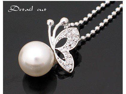 Горячо!!! Мода жемчужное ожерелье милые бабочки формы ожерелья сплава цепи женщин Новый 30 шт. / лот