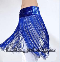 Wholesale Tribal Dance Scarves - tribal fringe Elasticity belly dance costume hip belt scarf blue