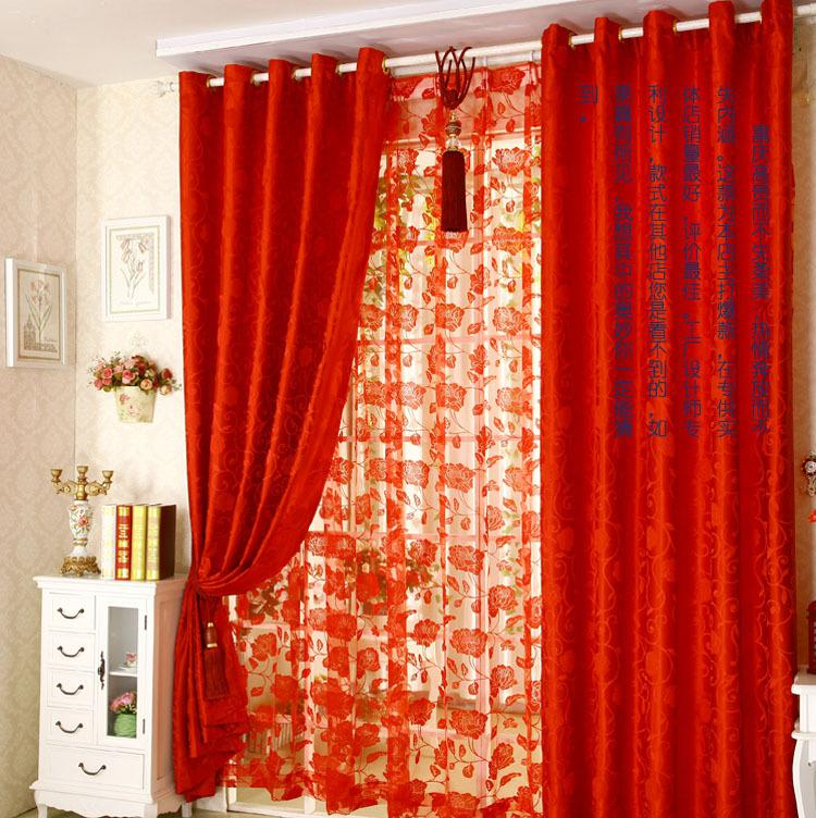 Wholesale 2015 New Jacquard Curtain Red Curtains Sheer Floral For Wedding Marriage Room Embroidered