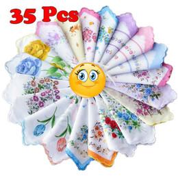 Wholesale Gift Handkerchiefs - Wholesale-New 35PCS 100% Cotton Handkerchiefs Hankies Quadrate Flower Christmas Valentine Gifts