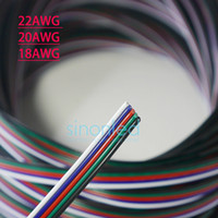 Wholesale Blue Black Red Green Connector - Wholesale-10m 20m 50m 5Pin 22AWG 20AWG 18AWG Extension Wire Cable Blue White Red Green Black Led Connector For RGBW 5050 3528 Stirp Light